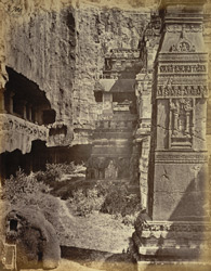 View from the north-west of the dhvajastambha and vimana, Kailasanatha rock-cut temple, Ellora